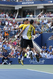 Grand Slam champions Mike and Bob Bryan during third round doubles match at US Open 2013 Stock Image