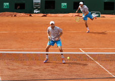 Grand Slam champions Mike and Bob Bryan of United States in action during second round match at Roland Garros Stock Photos