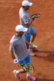 Grand Slam champions Mike and Bob Bryan of United States in action during second round match at Roland Garros Stock Images
