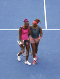 Grand Slam champions Serena Williams and Venus Williams during second round doubles match at US Open 2013 Royalty Free Stock Photos