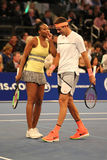 Grand Slam Champions Venus Williams of USA L and Juan Martin Del Potro of Argentina in action during  BNP Paribas Showdown Royalty Free Stock Images