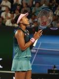 Grand Slam-de Kampioen Naomi Osaka van Japan viert overwinning na haar halve finalegelijke bij het Australian Open van 2019 in he royalty-vrije stock afbeelding