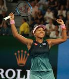 Grand Slam-de Kampioen Naomi Osaka van Japan viert overwinning na haar halve finalegelijke bij het Australian Open van 2019 in he stock foto's