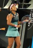 Grand Slam-de Kampioen Naomi Osaka van Japan viert overwinning na haar halve finalegelijke bij het Australian Open van 2019 in he stock afbeeldingen