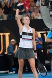 Grand Slam-de Kampioen Petra Kvitova van Tsjechische Republiek viert overwinning na haar halve finalegelijke bij het Australian O stock fotografie