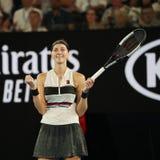 Grand Slam-de Kampioen Petra Kvitova van Tsjechische Republiek viert overwinning na haar halve finalegelijke bij het Australian O royalty-vrije stock foto