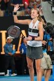 Grand Slam-de Kampioen Petra Kvitova van Tsjechische Republiek viert overwinning na haar halve finalegelijke bij het Australian O stock afbeelding