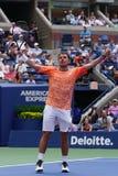 Grand Slam-de Kampioen Stanislas Wawrinka van Zwitserland viert overwinning na zijn eerste ronde gelijke bij het US Open van 2018 stock afbeelding