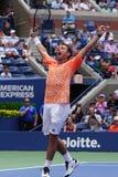 Grand Slam-de Kampioen Stanislas Wawrinka van Zwitserland viert overwinning na zijn eerste ronde gelijke bij het US Open van 2018 royalty-vrije stock fotografie