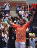 Grand Slam-de Kampioen Stanislas Wawrinka van Zwitserland viert overwinning na zijn eerste ronde gelijke bij het US Open van 2018 stock afbeeldingen