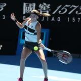 Grand Slam-Kampioen Petra Kvitova van Tsjechische Republiek in actie tijdens haar halve finalegelijke bij het Australian Open van stock afbeelding