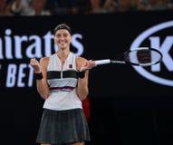 Grand Slam-Kampioen Petra Kvitova van Tsjechische Republiek in actie tijdens haar halve finalegelijke bij het Australian Open van royalty-vrije stock afbeelding