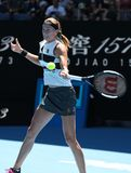 Grand Slam-Kampioen Petra Kvitova van Tsjechische Republiek in actie tijdens haar halve finalegelijke bij het Australian Open van royalty-vrije stock fotografie