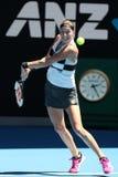 Grand Slam-Kampioen Petra Kvitova van Tsjechische Republiek in actie tijdens haar halve finalegelijke bij het Australian Open van royalty-vrije stock afbeeldingen