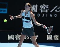 Grand Slam-Kampioen Petra Kvitova van Tsjechische Republiek in actie tijdens haar halve finalegelijke bij het Australian Open van stock foto's