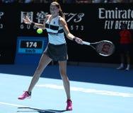 Grand Slam-Kampioen Petra Kvitova van Tsjechische Republiek in actie tijdens haar halve finalegelijke bij het Australian Open van stock afbeeldingen