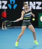 Grand Slam-Kampioen Simona Halep van Roemenië in actie tijdens haar ronde van gelijke 16 bij het Australian Open van 2019 in het  stock afbeeldingen