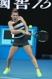 Grand Slam-Kampioen Simona Halep van Roemenië in actie tijdens haar ronde van gelijke 16 bij het Australian Open van 2019 in het  royalty-vrije stock foto