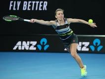 Grand Slam-Kampioen Simona Halep van Roemenië in actie tijdens haar ronde van gelijke 16 bij het Australian Open van 2019 in het  stock foto's
