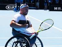 Grand Slam-Meister Dylan Alcott von Australien feiert Sieg nach seinem Australian Open-Viererkabel-Rollstuhleinzelfinale 2019 lizenzfreie stockfotos