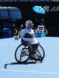 Grand Slam-Meister Dylan Alcott von Australien feiert Sieg nach seinem Australian Open-Viererkabel-Rollstuhleinzelfinale 2019 lizenzfreie stockbilder