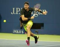 Grand Slam-Meister Juan Martin Del Porto von Argentinien in der Aktion während seines US Open 2016 Lizenzfreie Stockfotografie