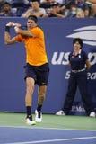 Grand Slam-Meister Juan Martin Del Potro von Argentinien in der Aktion während seines US Open-Erstrundematches 2018 stockbilder