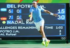 Grand Slam-Meister Juan Martin Del Potro von Argentinien in der Aktion während seines Halbfinalspiels des Rios 2016 Olympische Sp Lizenzfreie Stockbilder
