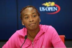 Grand Slam-Meister Venus Williams von Vereinigten Staaten während der Pressekonferenz bei Billie Jean King National Tennis Center lizenzfreie stockfotos