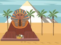 Grand sphinx à la vue de face de bande dessinée de fond de pyramide illustration de vecteur