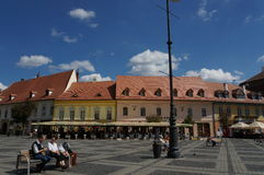 Grand square in Sibiu, Romania Royalty Free Stock Photo