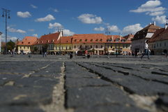 Grand square in Sibiu, Romania Royalty Free Stock Photos