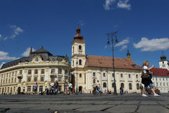 Grand square in Sibiu, Romania Stock Image