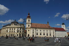 Grand square in Sibiu, Romania Stock Photo