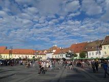 Grand square in Sibiu, Romania Royalty Free Stock Image