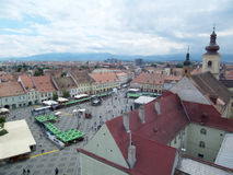 Grand square in Sibiu, Romania Royalty Free Stock Images