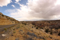 Scenic road and red rocks, Utah, USA Royalty Free Stock Photos