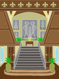 Grand Staircase upscale setting. Entrance to grand staircase leaving to second floor of wood encase building surrounded by upscale artwork Royalty Free Stock Photo