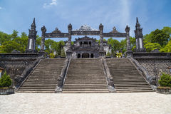 Grand stairs in Imperial Khai Dinh Tomb in Hue, Vietnam stock images