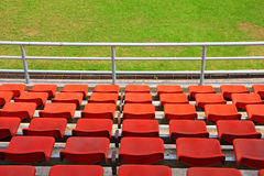 Grand stand, seat in stadium. Grand stand, orange seat in stadium. in horizontal royalty free stock photography