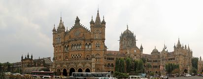 Panorama of Chhatrapati Shivaji Terminus. Grand station in the heart of Mumbai.Formerly known as Victoria Terminus is a historic railway station. UNESCO world Stock Photo