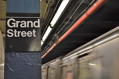 Grand Street New York Subway Sign Lower East Side Manhattan MTA Train Station stock image