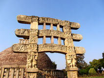 Grand stupa aucun 2 d'Inde de sanchi, patrimoine mondial bouddhiste de monuments photographie stock libre de droits