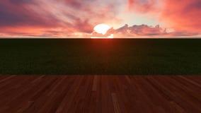 Grand Sun se levant entre les nuages devant les planches en bois et le Gree photos stock