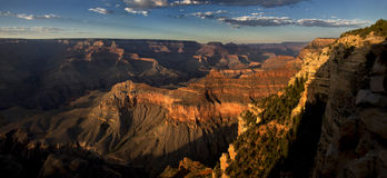 Grand Sunset. Panoramic view of golden sunset in Grand Canyon Stock Images