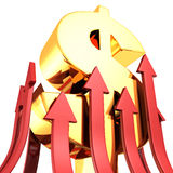 Grand symbole d'or du dollar avec beaucoup le rouge grandissant des flèches Photos stock