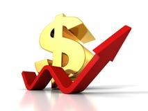 Grand symbole monétaire du dollar avec l'augmentation vers le haut de la flèche croissante Photo stock