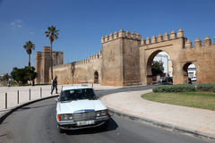 Grand Taxi in Sale, Morocco. Grand Taxi in front of the Medina Gate in Sale, Morocco Stock Photos