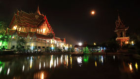 Grand temple of wat Bua Kwan with full moon on Magha Puja Day Stock Image