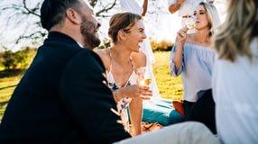 Grand temps avec des amis au restaurant de jardin Photo libre de droits